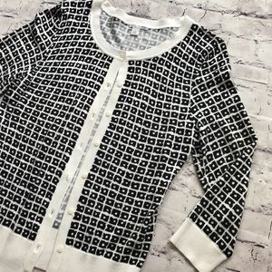 Halogen Black & White Scoop Neck Button Cardigan